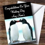 Penguins Customised Wedding Day Card