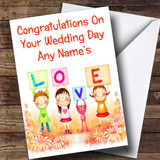 Cute Love Customised Wedding Day Card