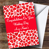 Pink And Red Love Hearts Customised Wedding Day Card