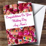 Love Heart Sweets Customised Wedding Day Card