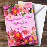Flowers Customised Wedding Day Card