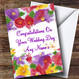 Beautiful Flowers Customised Wedding Day Card