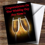Champagne Glasses Customised Wedding Day Card