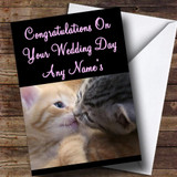 Cats Kissing Customised Wedding Day Card