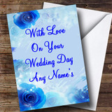 Blue Flowery Customised Wedding Day Card