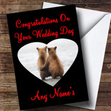 Cuddling Bears Customised Wedding Day Card