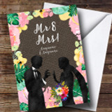 Mr & Mrs Floral & Dark Hessian Wedding Day Customised Card