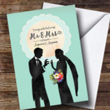 Mr & Mrs Mint Lace Silhouette Wedding Day Customised Card