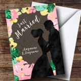 Floral & Dark Hessian Wedding Day Customised Card