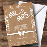 Burlap And Lace Wedding Day Customised Card