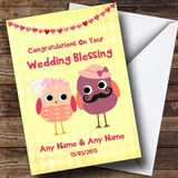 Yellow & Coral Cute Owls Customised Wedding Blessing Card