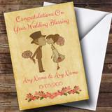 Vintage Cute Bride & Groom Customised Wedding Blessing Card