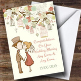 Vintage Birdcage Cute Couple Customised Wedding Blessing Card