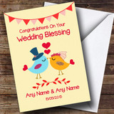 Red & Yellow Love Birds Customised Wedding Blessing Card