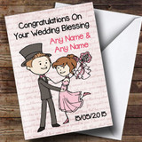 Pink Love Script Customised Wedding Blessing Card