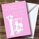 Pastel Pink Couple Eon Swing Customised Wedding Blessing Card