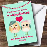 Mint Green Cute Owls Customised Wedding Blessing Card