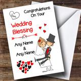 Hearts Bride & Groom Customised Wedding Blessing Card