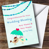 Green Blue Owls Customised Wedding Blessing Card