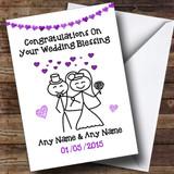 Doodle Happy Couple Purple Customised Wedding Blessing Card