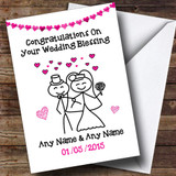 Doodle Happy Couple Pink Customised Wedding Blessing Card