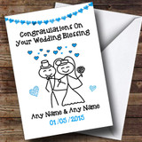 Doodle Happy Couple Blue Customised Wedding Blessing Card