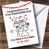 Doodle Happy Couple Customised Wedding Blessing Card