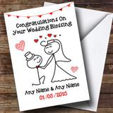 Doodle Cute Kneeling Groom Customised Wedding Blessing Card