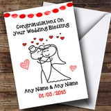 Doodle Cute Cuddling Couple Customised Wedding Blessing Card