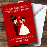 Deep Red Doodle Customised Wedding Blessing Card