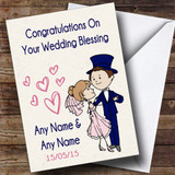Deco Blue & Pink Customised Wedding Blessing Card