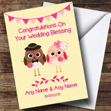 Cute Pink & Yellow Owls Customised Wedding Blessing Card