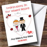 Cute Doodle Red Haired Couple Customised Wedding Blessing Card