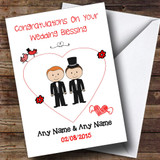 Cute Doodle Gay Male Couple Red Haired Customised Wedding Blessing Card