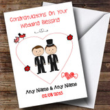 Cute Doodle Gay Male Couple Both Dark Haired Customised Wedding Blessing Card