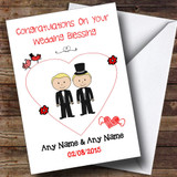 Cute Doodle Gay Male Couple Both Blonde Customised Wedding Blessing Card