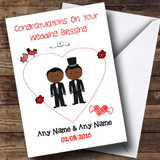 Cute Doodle Gay Male Black Couple Customised Wedding Blessing Card
