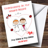 Doodle Gay Lesbian Couple Red Head Brunette Customised Wedding Blessing Card