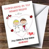 Doodle Gay Lesbian Couple Blonde Brunette Customised Wedding Blessing Card