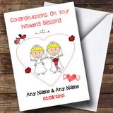 Doodle Gay Lesbian Female Couple Both Blonde Customised Wedding Blessing Card