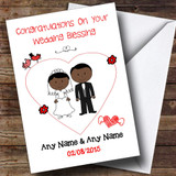 Cute Doodle Black Couple Customised Wedding Blessing Card