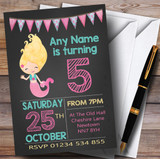 Chalk Bunting Mermaid Children's Birthday Party Invitations