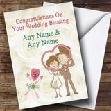 Couple Heart Frame Customised Wedding Blessing Card