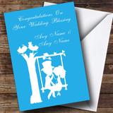 Blue Couple on Swing Customised Wedding Blessing Card