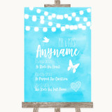Aqua Sky Blue Watercolour Lights Important Special Dates Wedding Sign