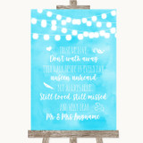 Aqua Sky Blue Watercolour Lights In Loving Memory Customised Wedding Sign