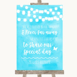 Aqua Sky Blue Watercolour Lights In Our Thoughts Customised Wedding Sign