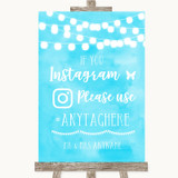 Aqua Sky Blue Watercolour Lights Instagram Hashtag Customised Wedding Sign