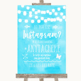 Aqua Sky Blue Watercolour Lights Instagram Photo Sharing Wedding Sign