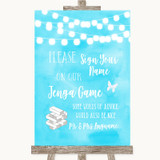 Aqua Sky Blue Watercolour Lights Jenga Guest Book Customised Wedding Sign